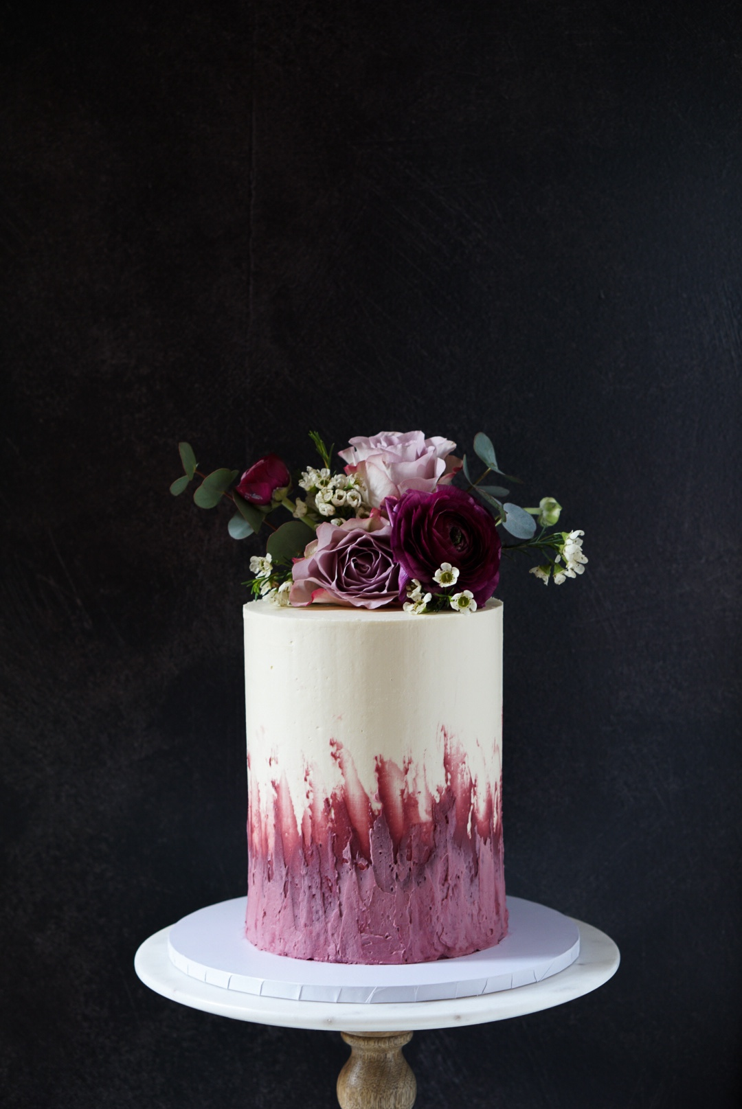 Pink floral buttercream cake
