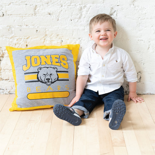 """T-Shirt or Binkie Pillow (1 Shirt) - 18""""x18"""" - Toddlers can be so rough on their favorite blanket. If you have one that's tattered and worn, it may be able to stay alive as a T-shirt pillow. You can get creative because we can work with you to preserve that special piece of comfort your child has come to love and rely on.ORDER NOW!"""