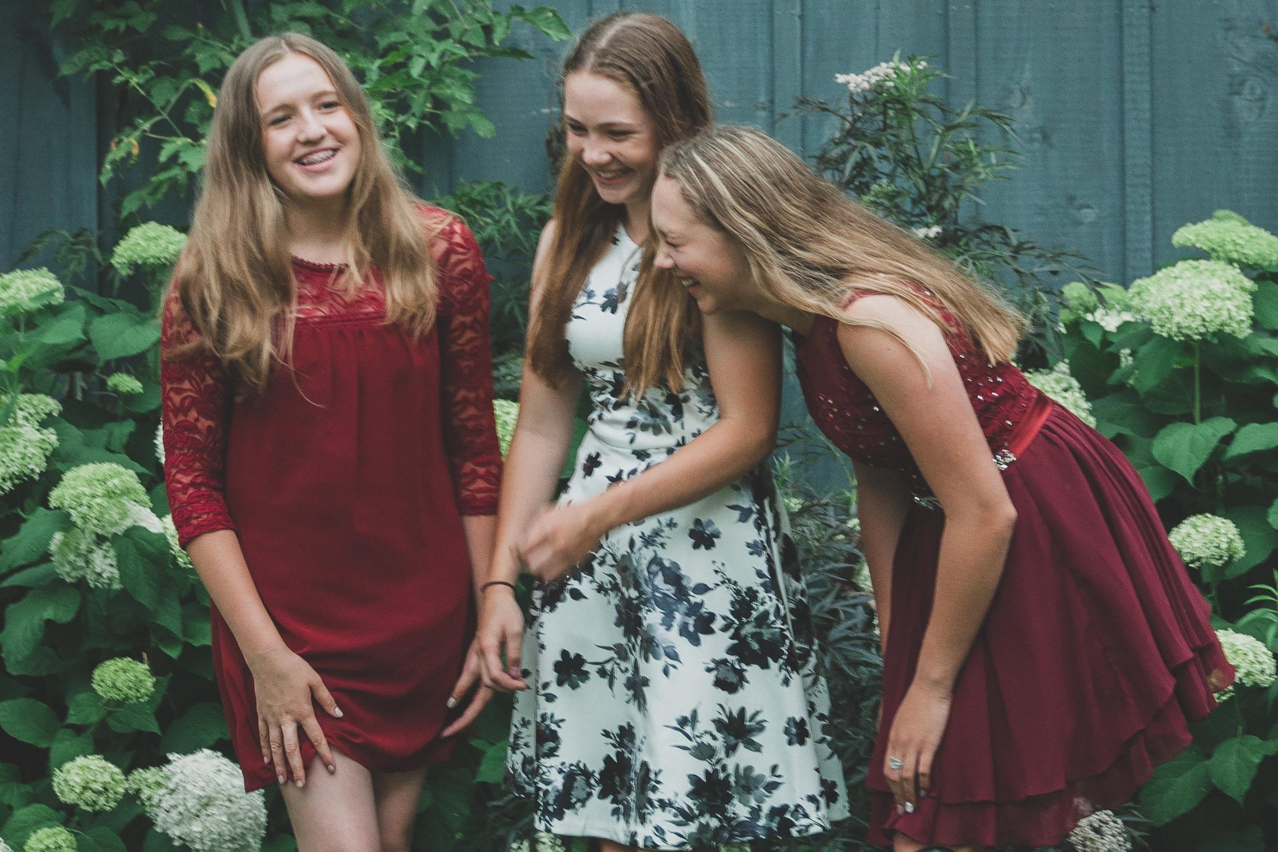 grad pics - Erika, Emma, + Nyla grade eight grad