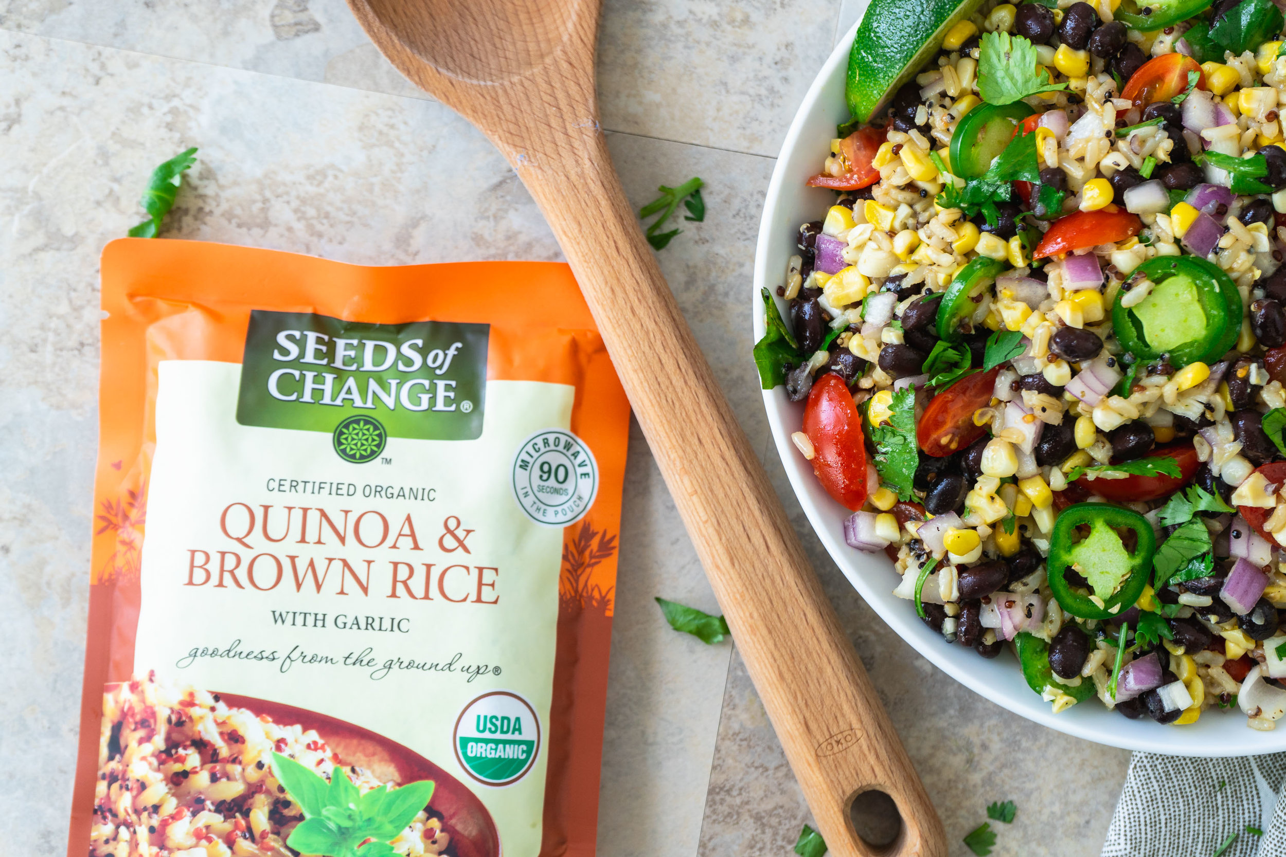 Quinoa and Brown Rice Salad with Black Beans and Honey-Lime Vinaigrette Seeds of Change 1.jpg