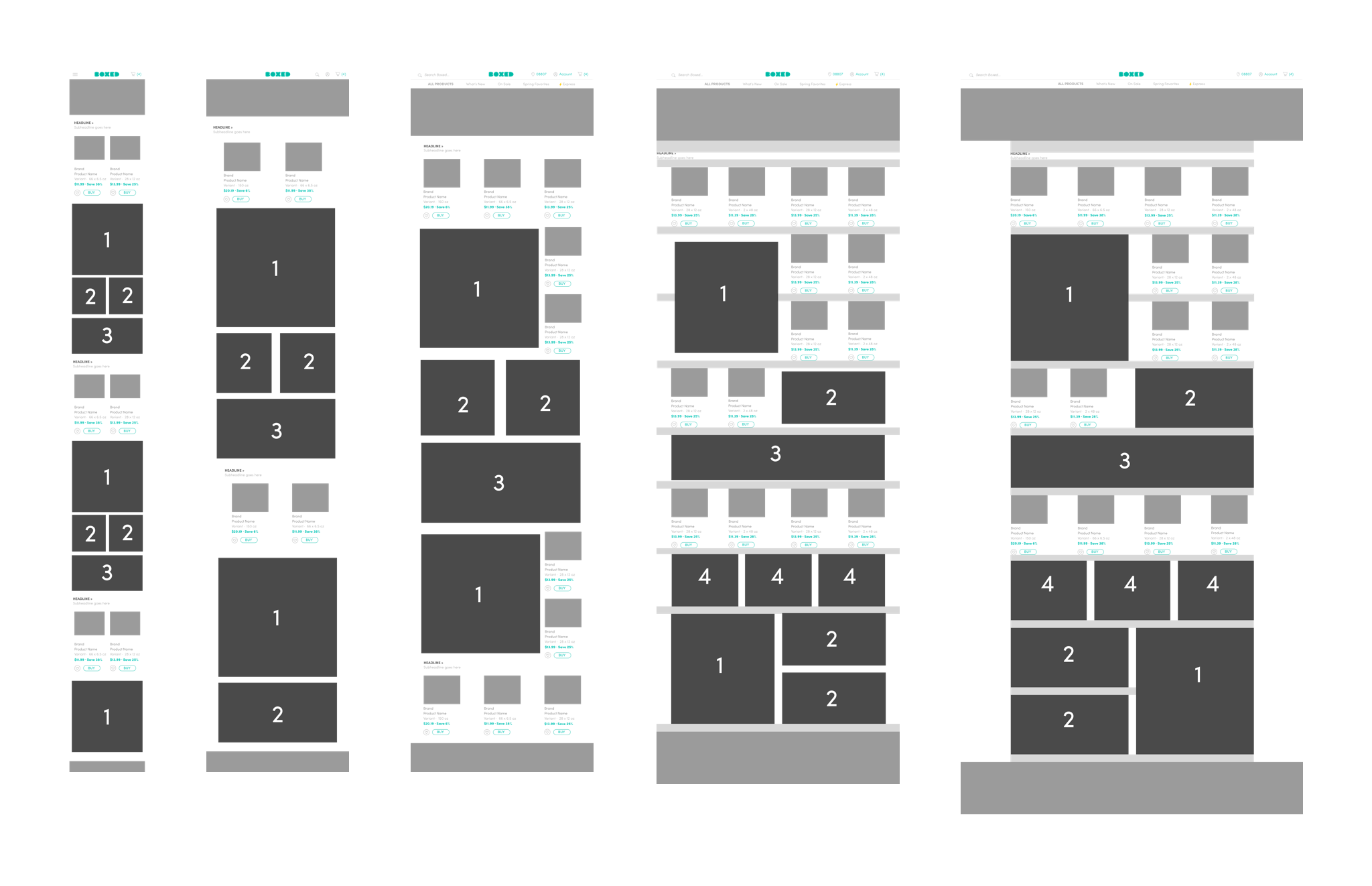 Wireframes depicting the updated modules For our current Homepage.