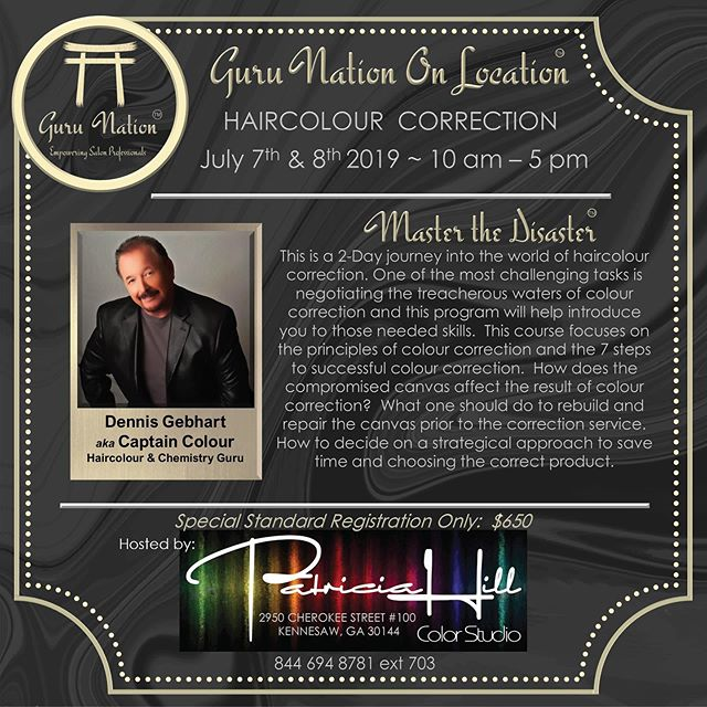 Master the disaster || 2-day class on hair color correction with Dennis Gebhart (Chemist, Previous Employee and Educator to multiple major beauty brands, Salon Professional and Owner, aka captain colour) — if you struggled finding the correct product for your job & want to save time, this class is for you! You do not want to miss this✨