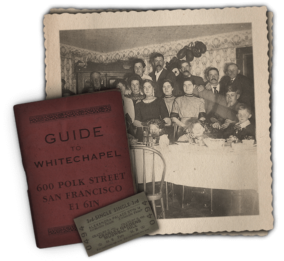 Book cover of a Guide to Whitechapel, a single ticket and a vintage image of a cocktail party.