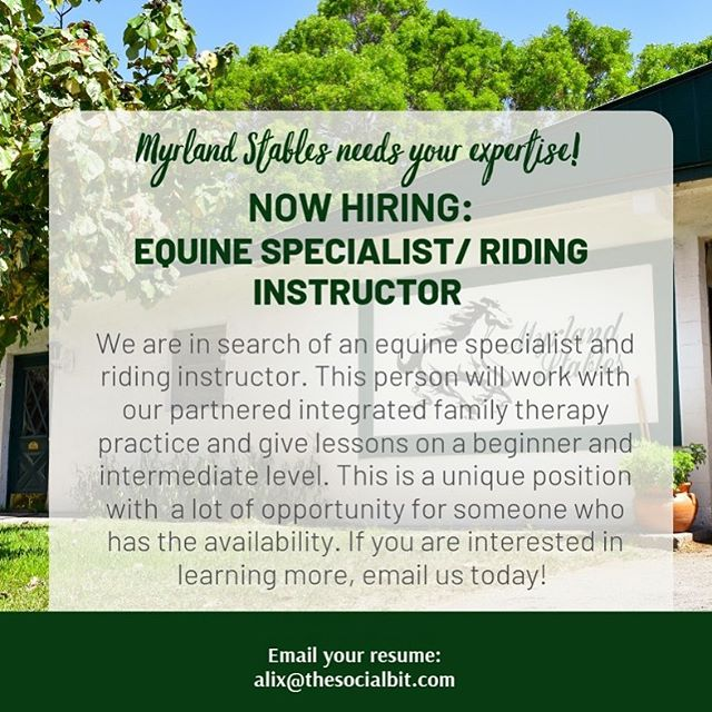 Email your resume today! located in Ft. Lauderdale Florida area. #myrlandstables #equinespecialist