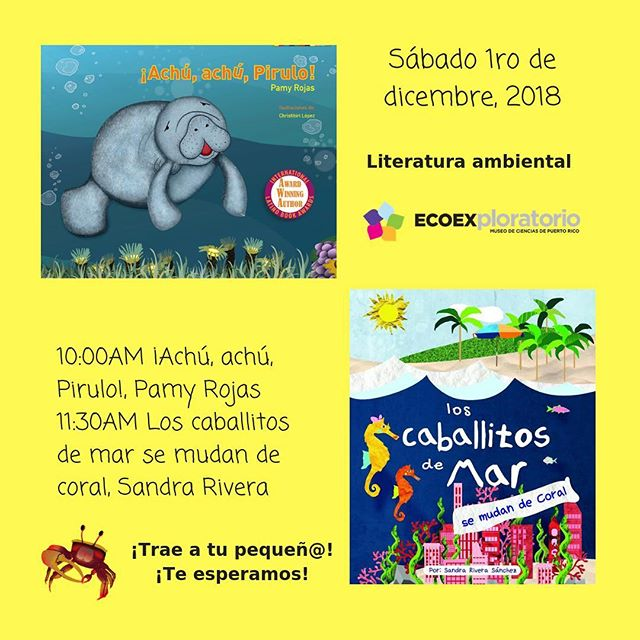 🐠🐟Te esperamos este sábado 1ro de diciembre a las 10:00am y a las 11:30am. 🐬Lectura de cuentos por las autoras y muchas actividades de educación ambiental. 🦀Trae a tu pequeñ@ al 4to Aniversario de Oceánica en Plaza las Américas. @ecoexploratorio  #literaturaambiental #educacionambiental #environmentaleducation #environmentalliterature #education #educacion #spanish #español #spanishtribe #spanishlanguage #spanishteacher #maestraespañol #spanish4teachers #flteach #profesele #intaenvironment #climateaction #change #green #nature #naturaleza #ecology #ecologia #savetheplanet #salvemoselplaneta #leer #read #childrensliterature #literaturainfantil