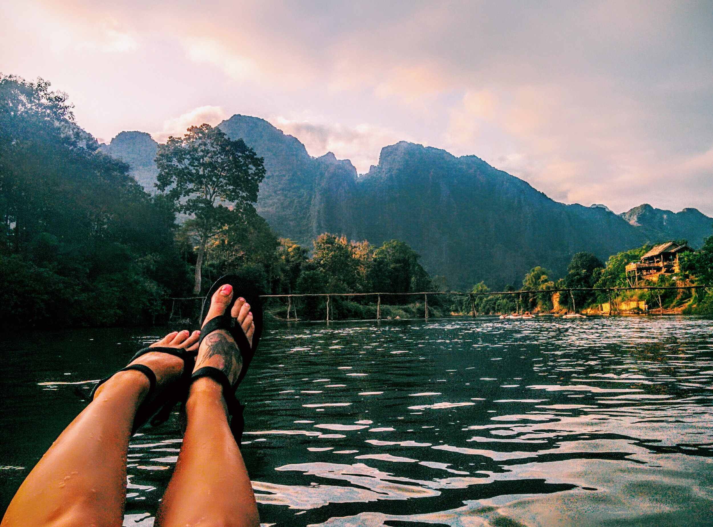 Nam Song River tubing, Laos
