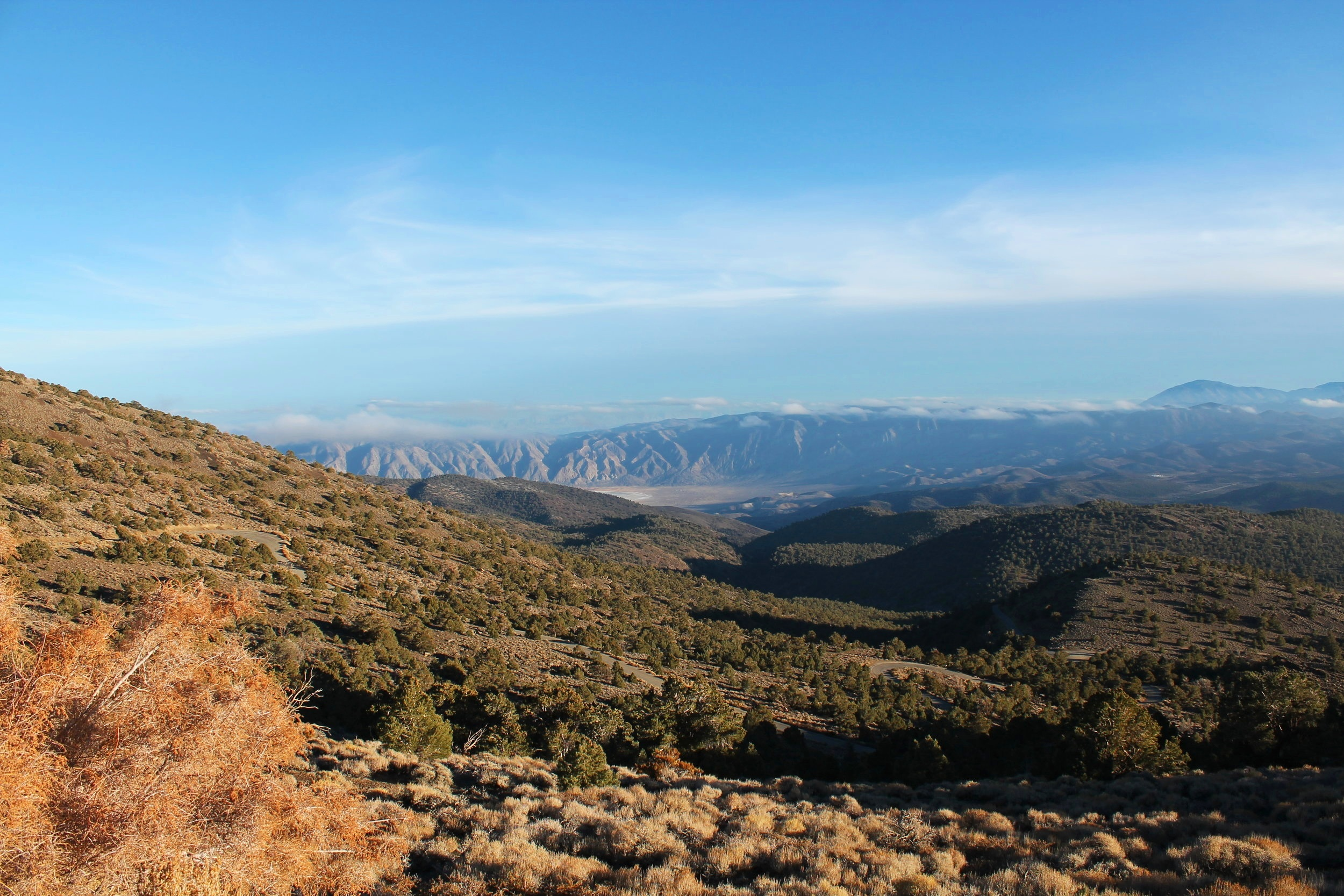 Looking down at the Owens Valley.