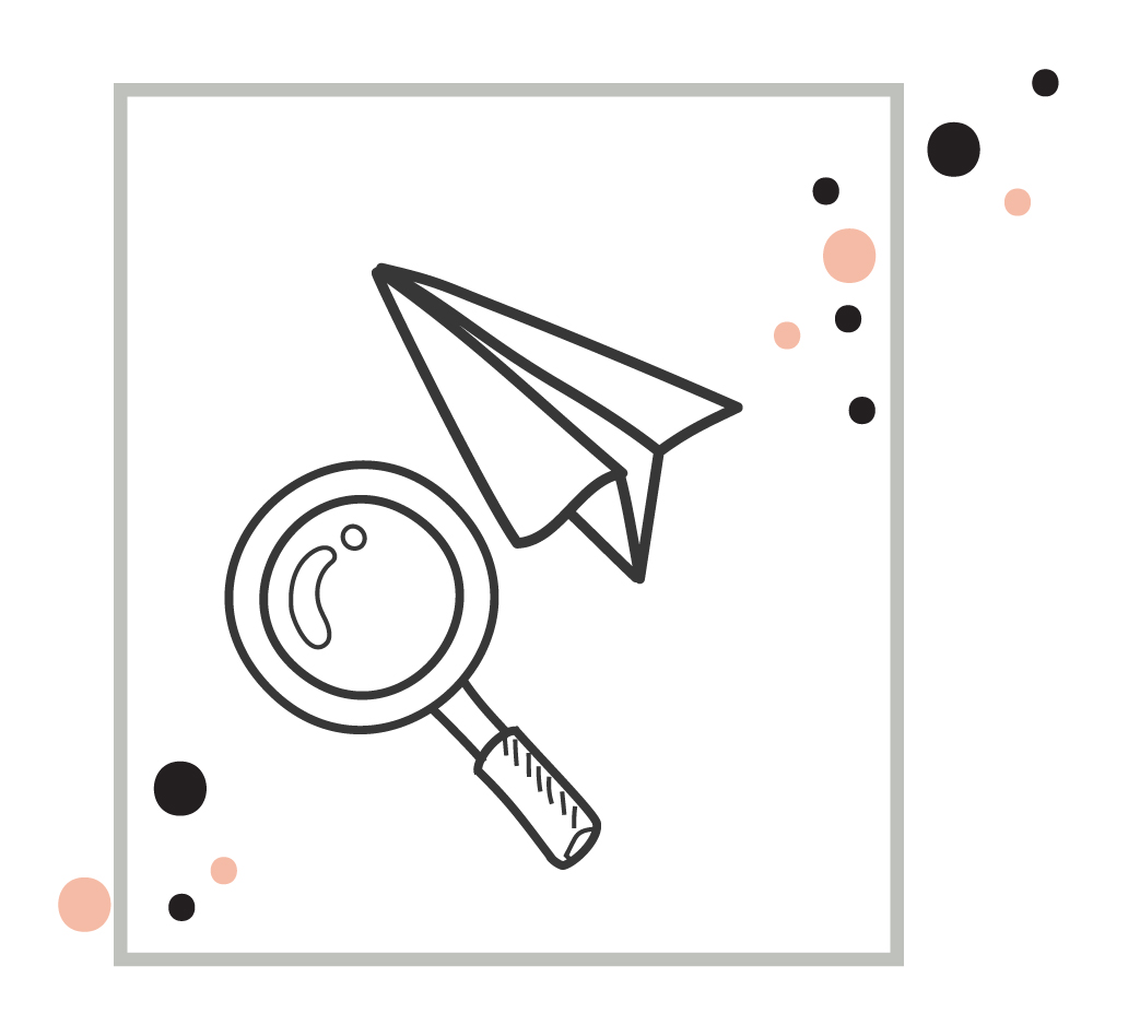 an illustration of a magnifying glass and a paper airplane, signifying narrowed targeting