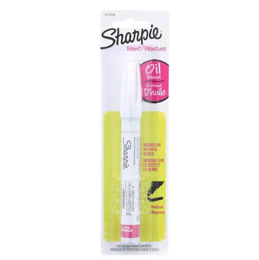 Sharpie Oil Based Marker   I use this marker on all of my acrylic. The oil based paint goes NOWHERE once you put it down. It works best on smooth surfaces like glass and acrylic.