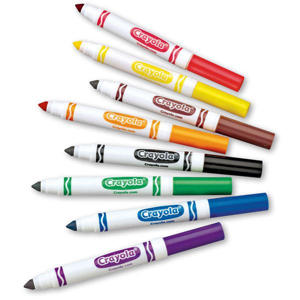 Crayola Broad Line Markers   These markers are great for beginners. They have a harder tip so they are easier to use, plus they come in so many colors! Also, a very inexpensive purchase if you want to learn calligraphy.