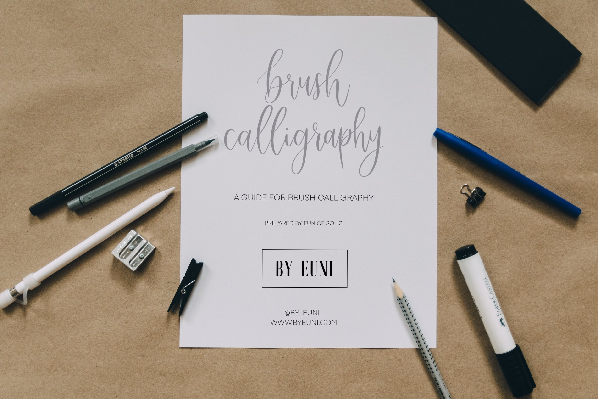 Brush Calligraphy Guide   The Brush Calligraphy guide is perfect to use with the fudenosuke brush pens! This will help you create beautiful calligraphy by mastering the pressure and strokes of your brush pen.