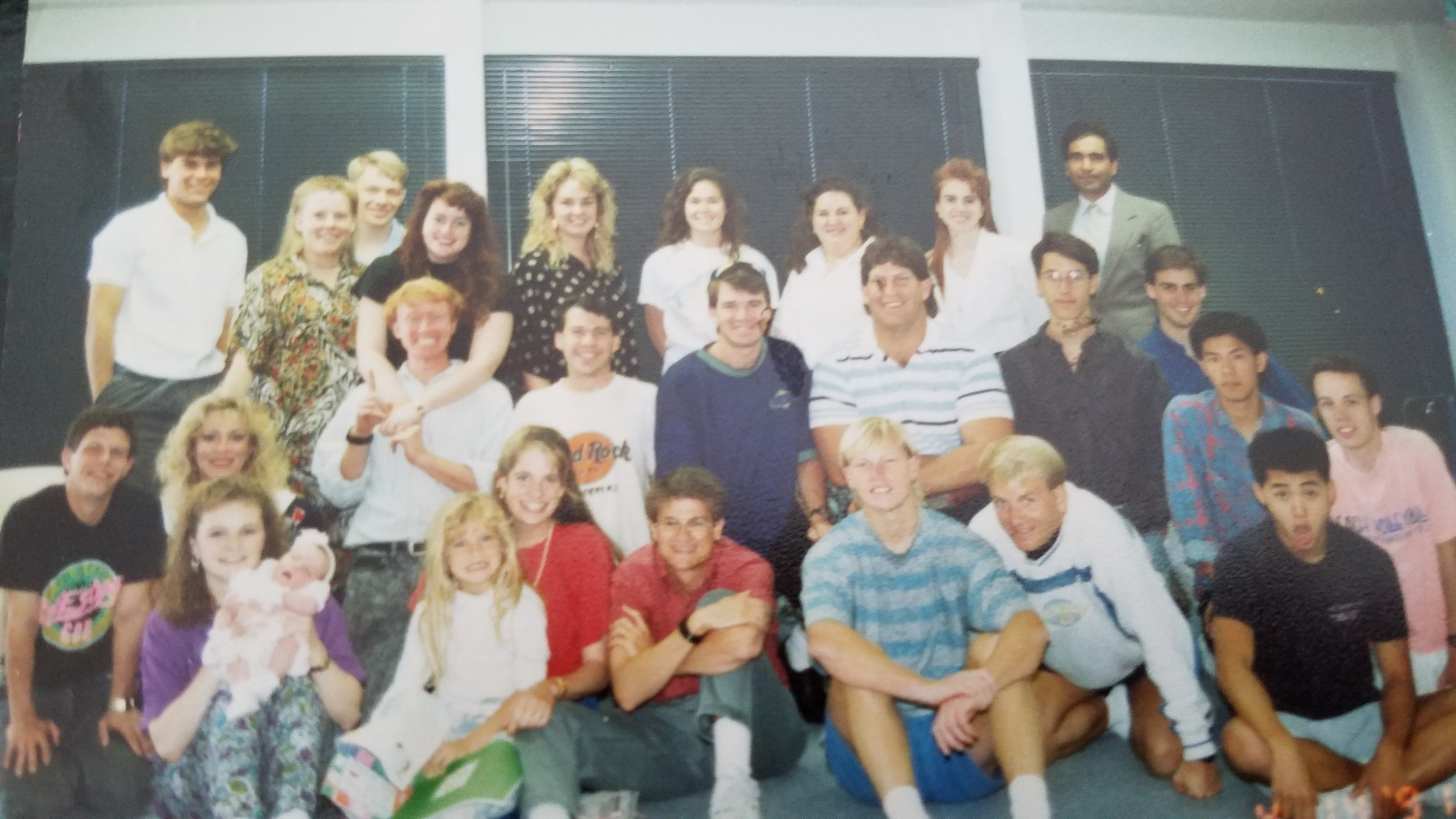 Pastor Frank (front row, in red) next to his future wife Cynda (also in red) at their Mission Hills church.