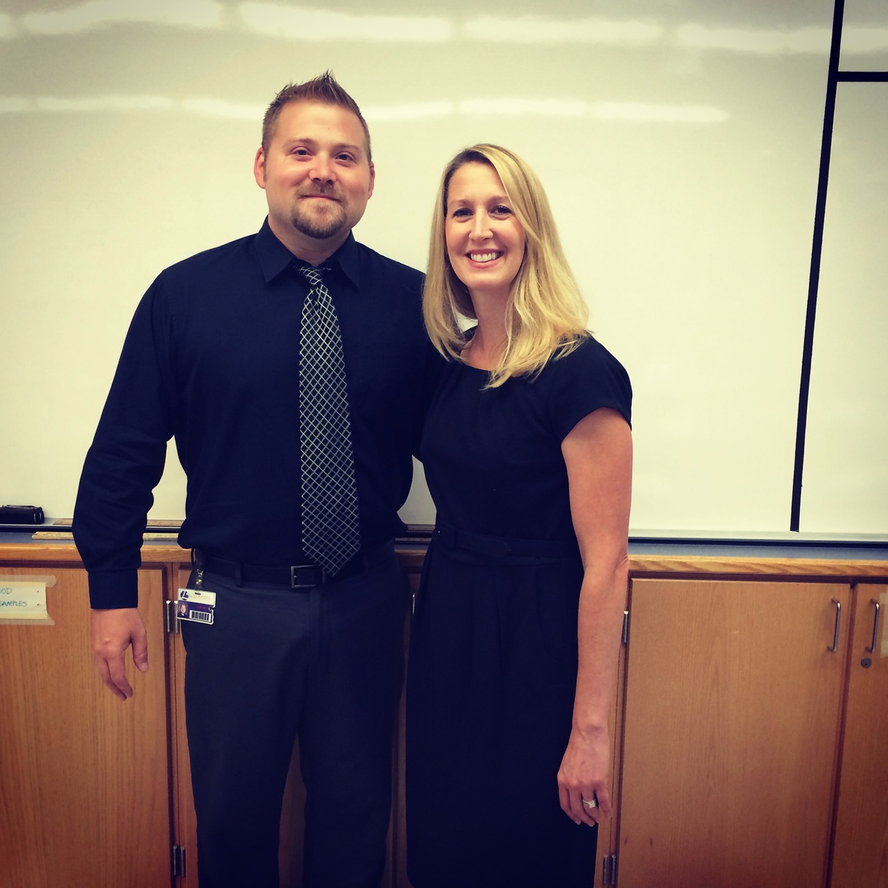 My wife and I on the first day of school.