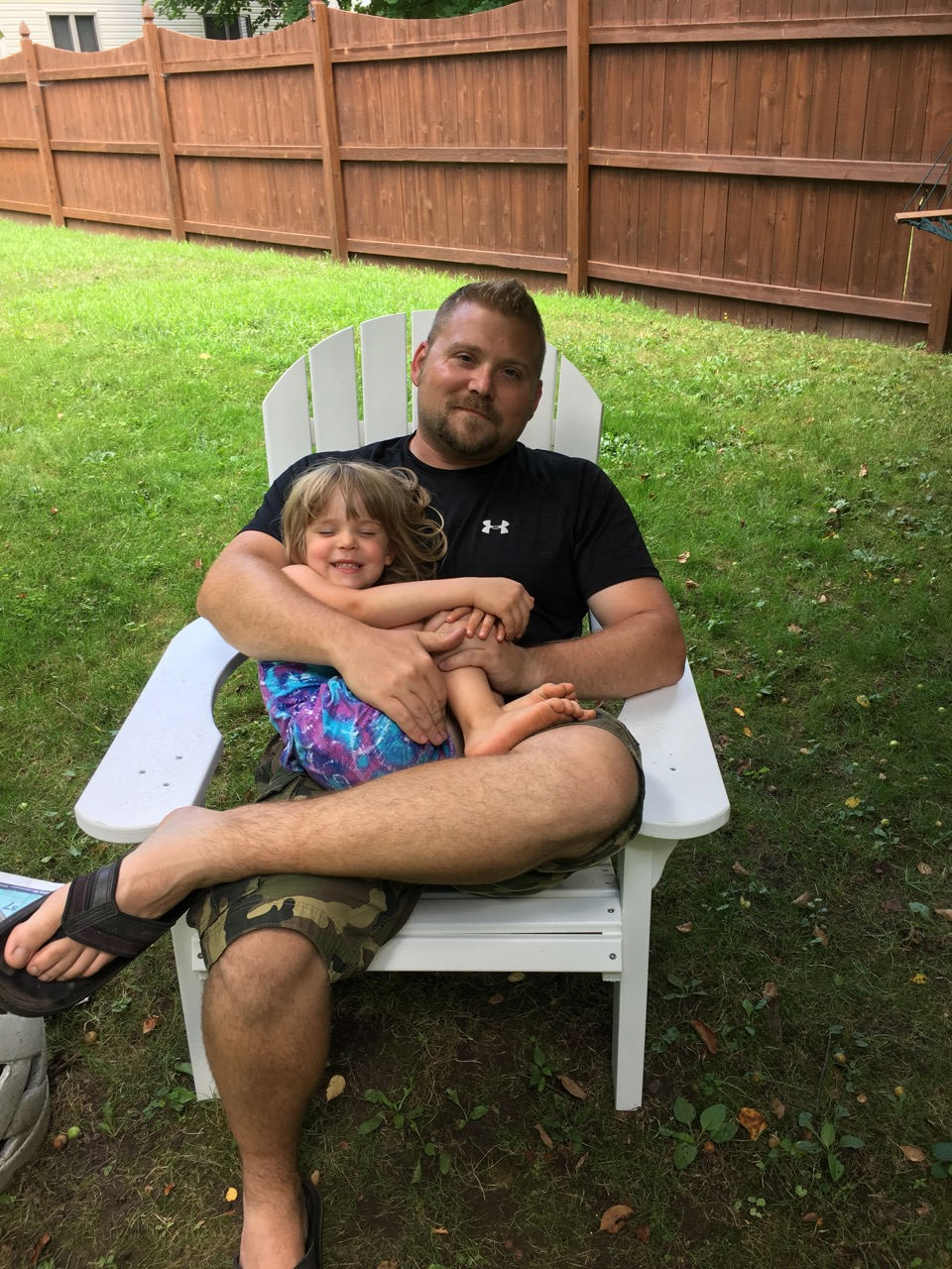 Tessa my daughter and I after a long day of landscaping.