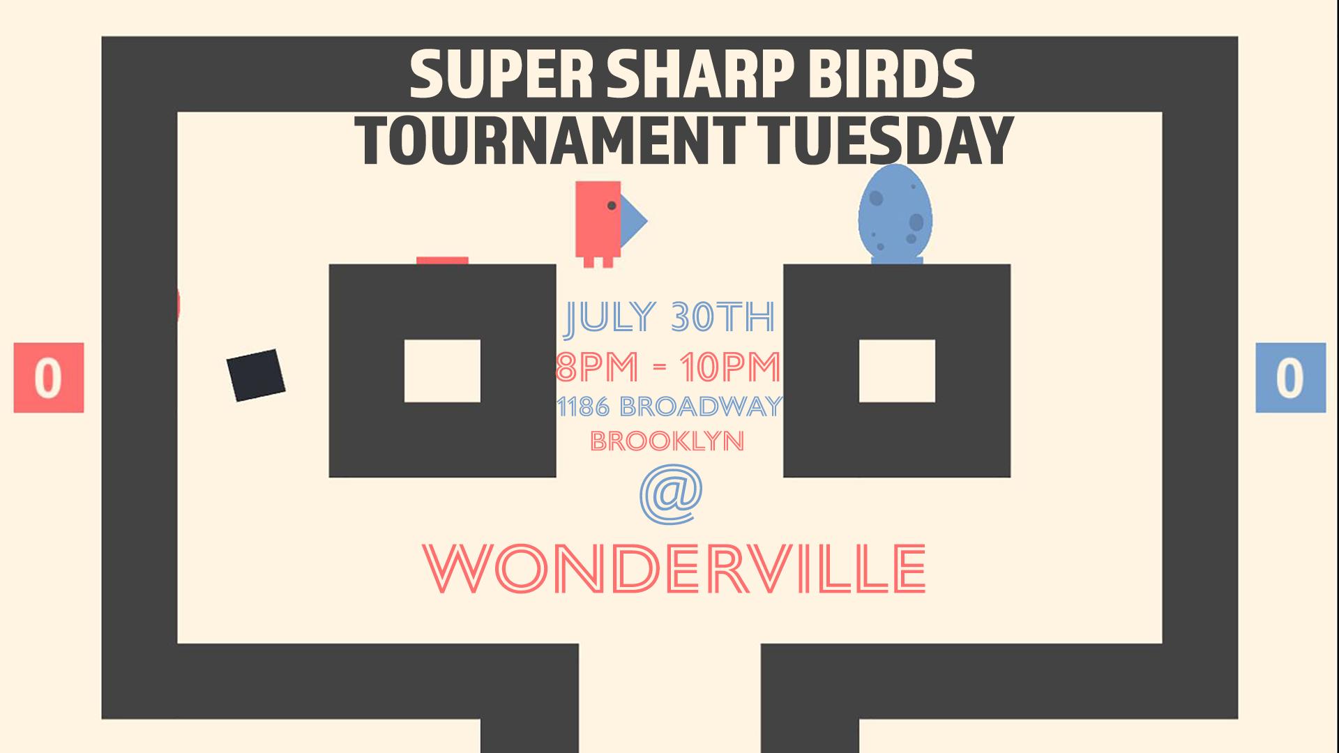 RSVP:  https://withfriends.co/Event/2168732/Super_Sharp_Birds_Tournament?fbclid=IwAR1vEiAZKd-L5ZTE3qwGlHzS0bsHETAYAcaZ1voHoda8NLLlwLLAiz_oPi8