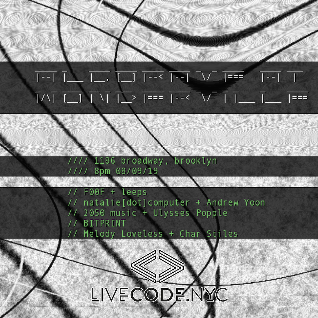 Tickets:  https://withfriends.co/Event/2250234/Algorave_at_Wonderville_with_livecode_nyc