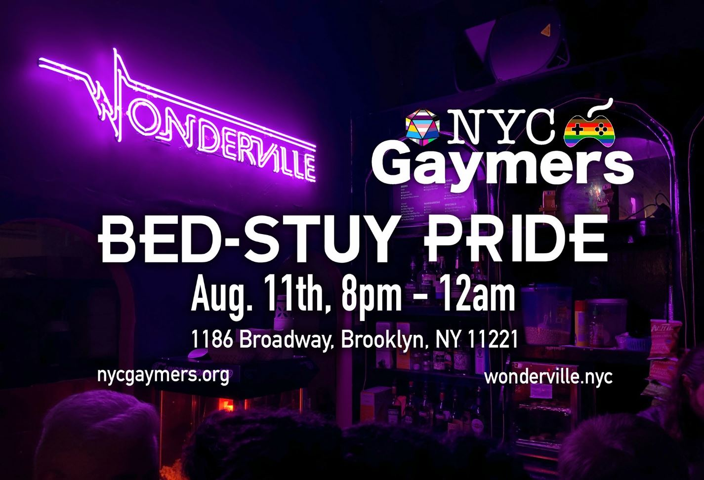 RSVP:  https://withfriends.co/Event/2298401/NYC_Gaymers_at_Wonderville_Bed_Stuy_Pride