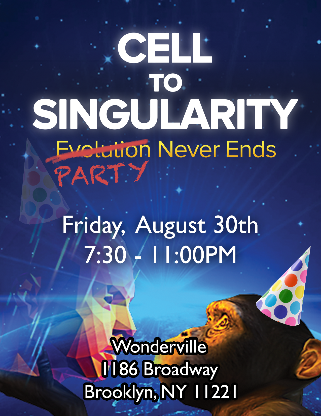 RSVP:  https://withfriends.co/Event/2468501/Cell_to_Singularity_Party_Never_Ends