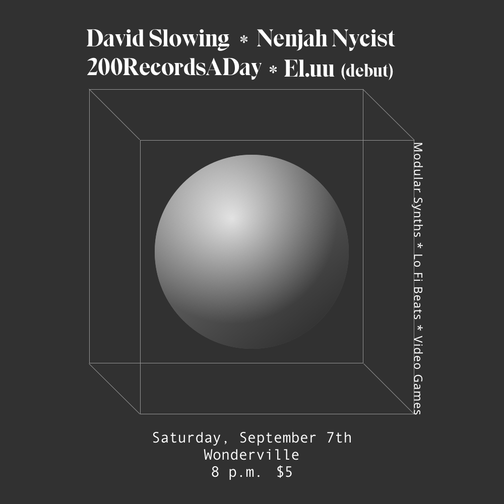Tickets:  https://withfriends.co/Event/2492350/Live_Modular_Synths_and_Lo_Fi_Beats_David_Slowing_Nenjah_Nycist_200RecordsADay_El_uu