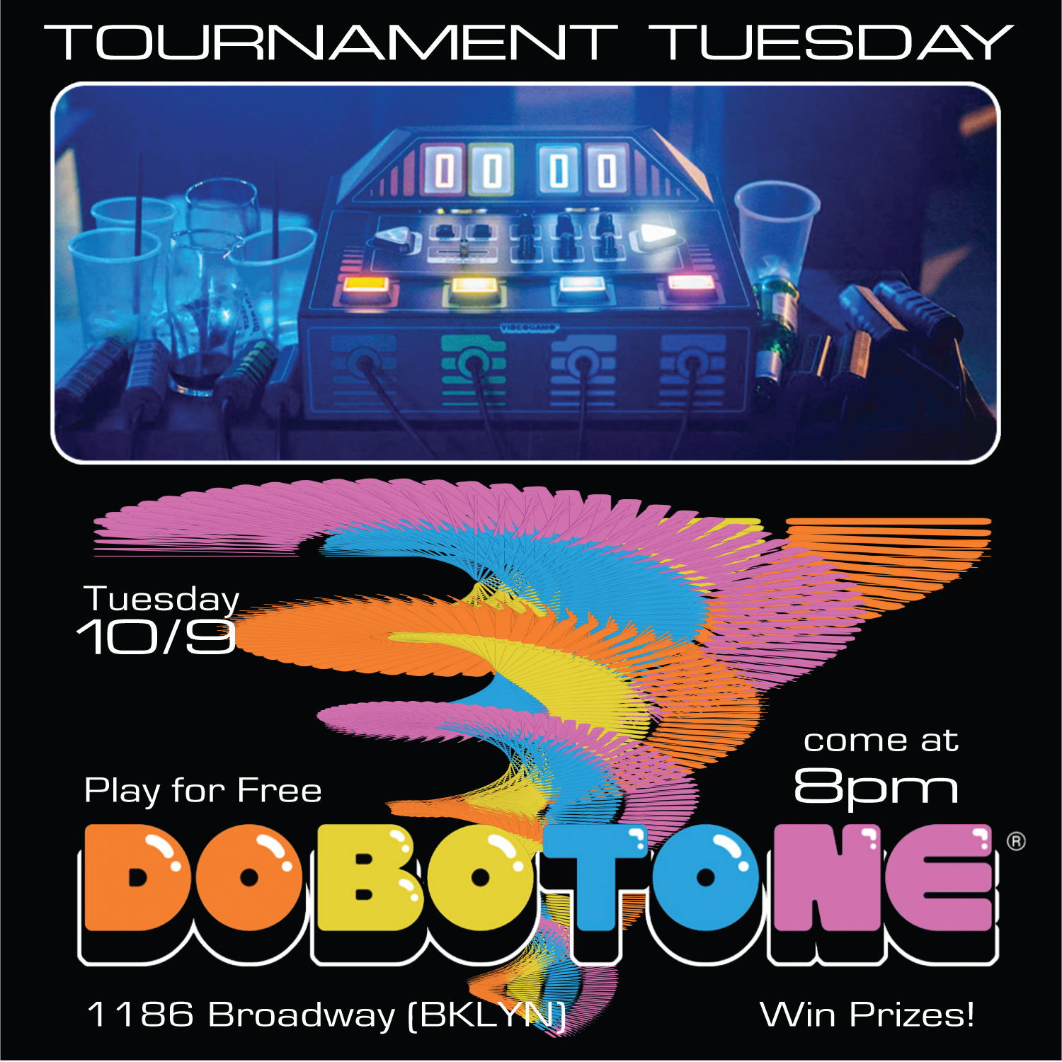 Tickets:  https://withfriends.co/event/2573347/tournament_tuesday_dobotone   Free to Play and Compete!  September 10th - 8PM  HACK OR BE HACKED. DOBOTONE is a 5-player video game console specially designed for partying. Play simple, intuitive, puzzly, action mini-games with two-button controllers, or modify the rules of the game by using the knobs and buttons on the console: Become the fairest Game Master or the meanest Troll Hacker.