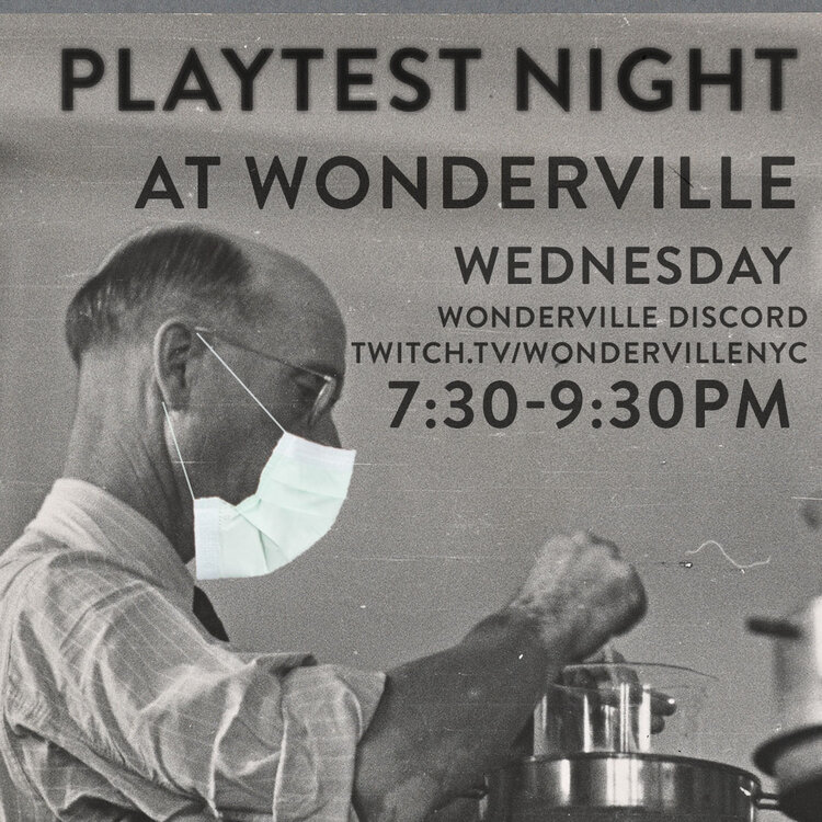 A man wearing a face mask tinkers with scientific equipment in this flyer for Wonderville's playtest night.