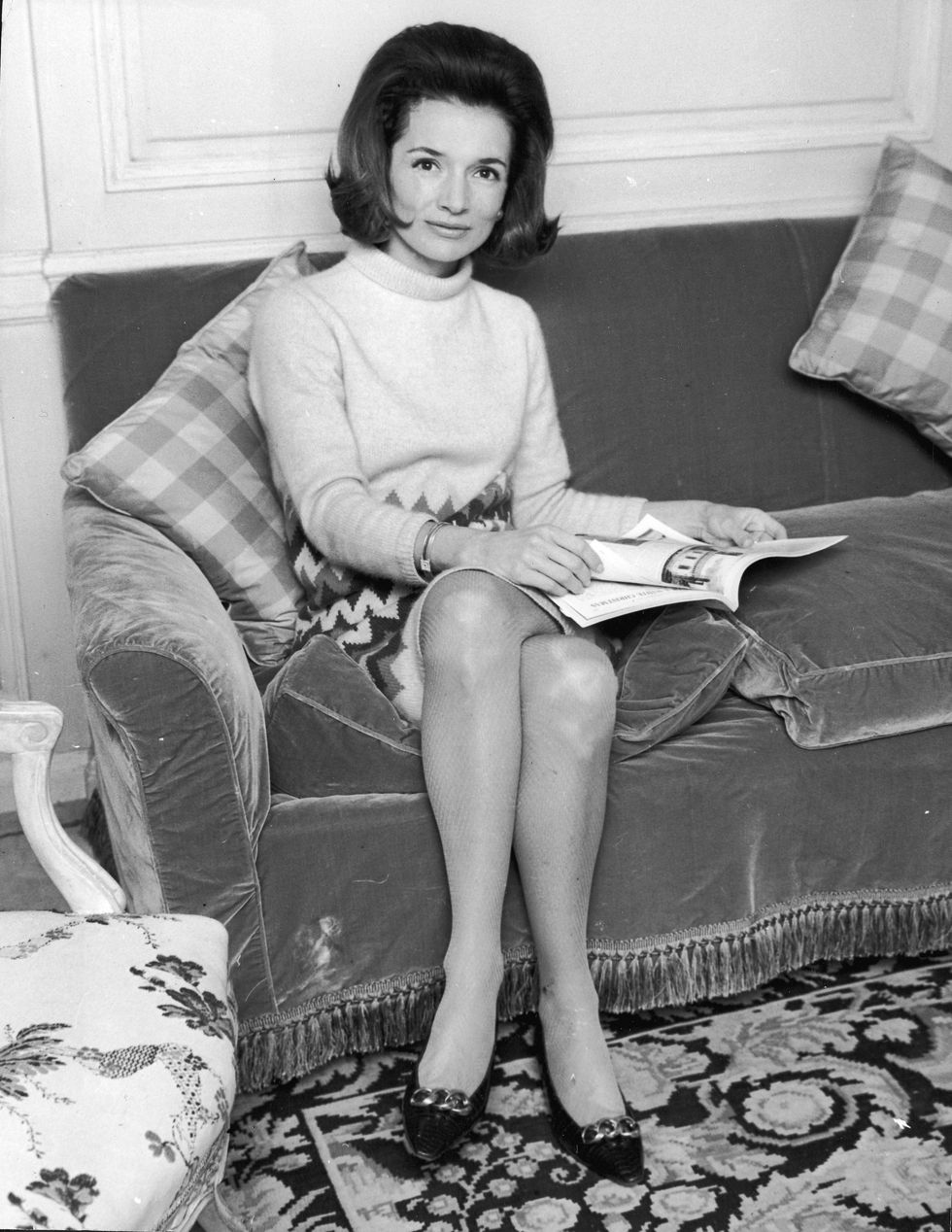 Lee Radziwill seated, 1960s.