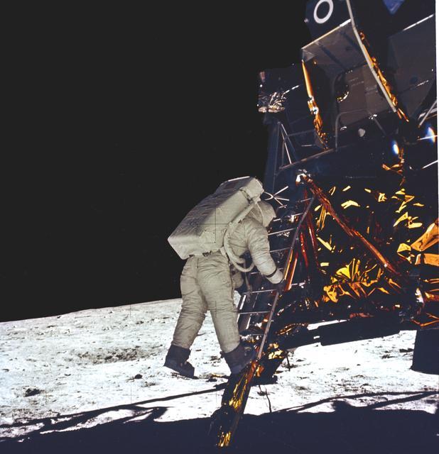 Buzz Aldrin decending from Lunar Module NASA Image Library.jpg