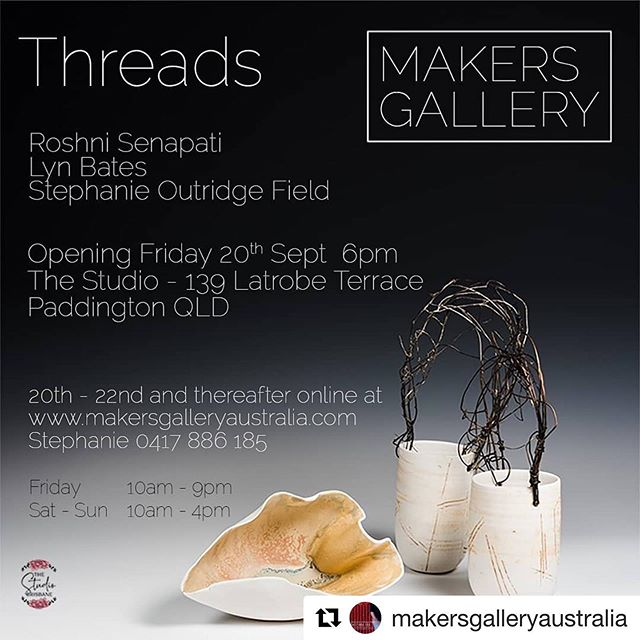 As Stephanie from @makersgalleryaustralia says this exhibition is about 'place, hand and heart' . Please pop in to The Studio Brisbane over the next three days for an inspiring exhibition, that photography just can't capture, this one must be felt!  #Repost @makersgalleryaustralia with @get_repost ・・・ A  look at Threads opens this Friday 20 September with opening event from 6pm. Join Roshni Senapati, Lyn Bates and Stephanie Outridge Field  for their exhibition. There is an Artist in Conversation event 1.30pm Saturday 21 September as well as 10.30pm Sunday 22 September where they will converse about inspiration, motivation, working to an exhibition and curating a 3 person show. #australianmade #australianceramics  #porcelain  #wildporcelain #ceramics #porcelainjewellery #ceramicdesigner