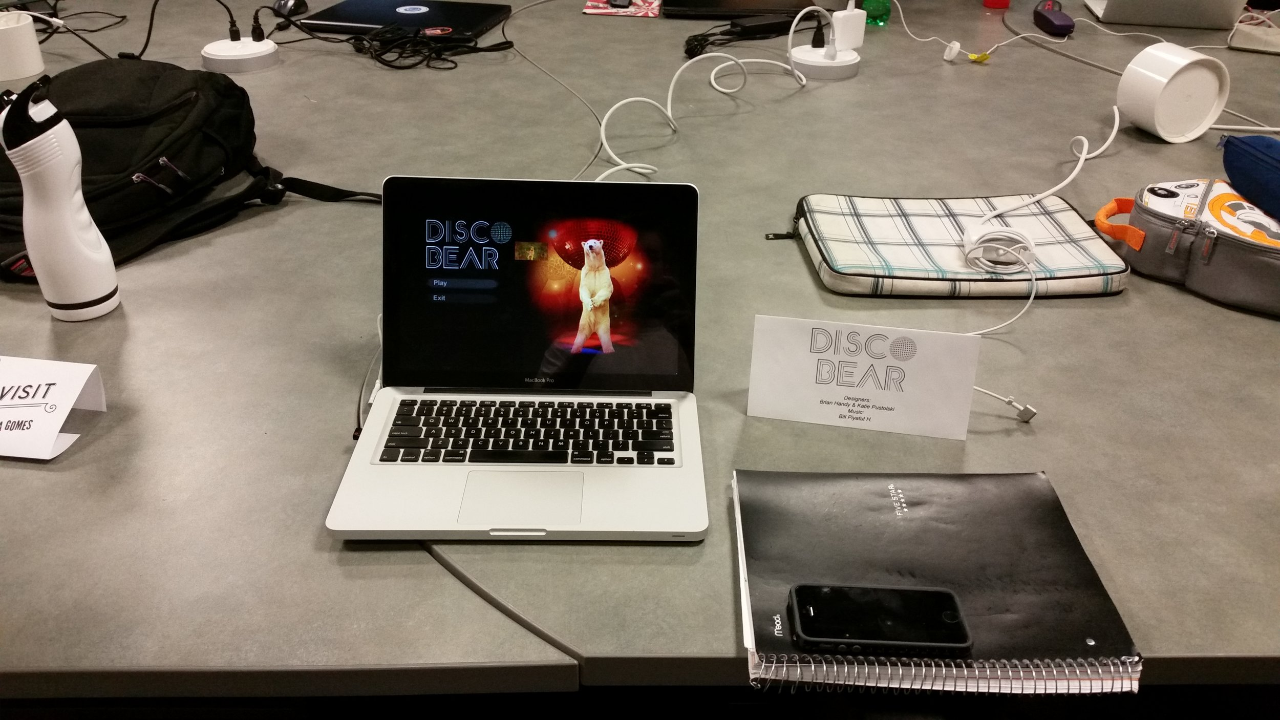 Disco Bear set up during a playtest session.