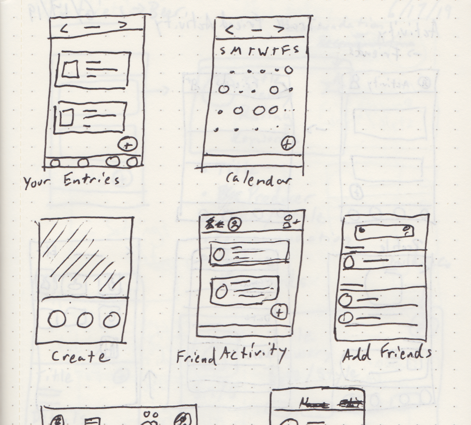 A quick look into my notebook. I tend to make thumbnails of screens before creating wireframes on the computer. It helps to get my ideas down on paper.
