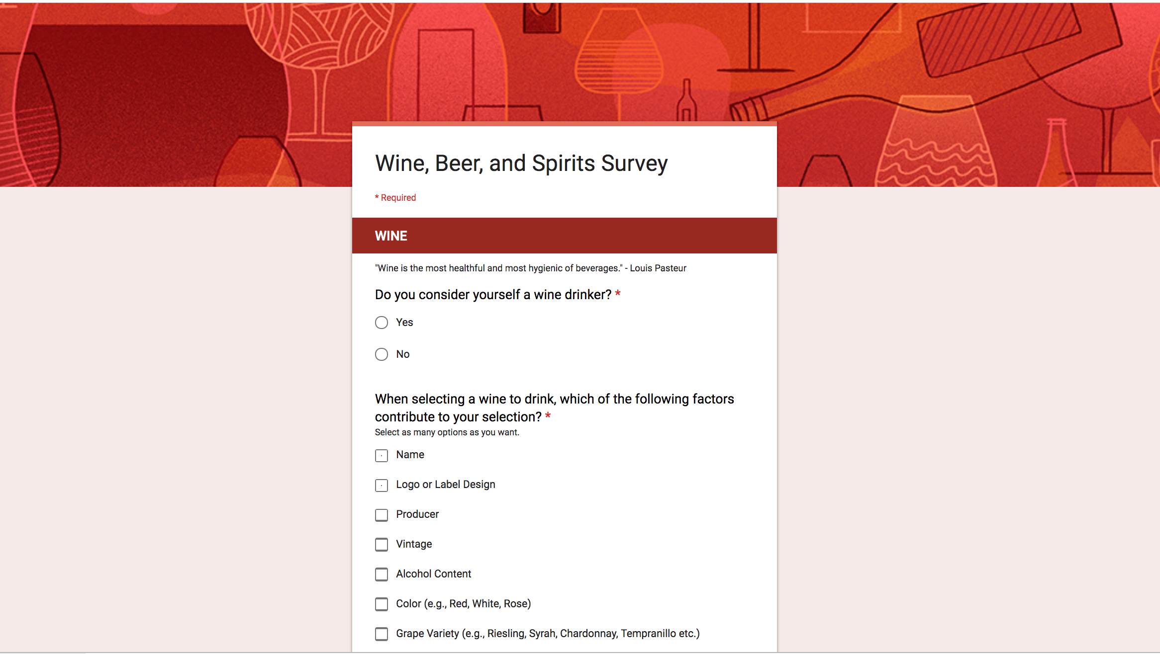 A screenshot of the survey I sent out to my Facebook friends.