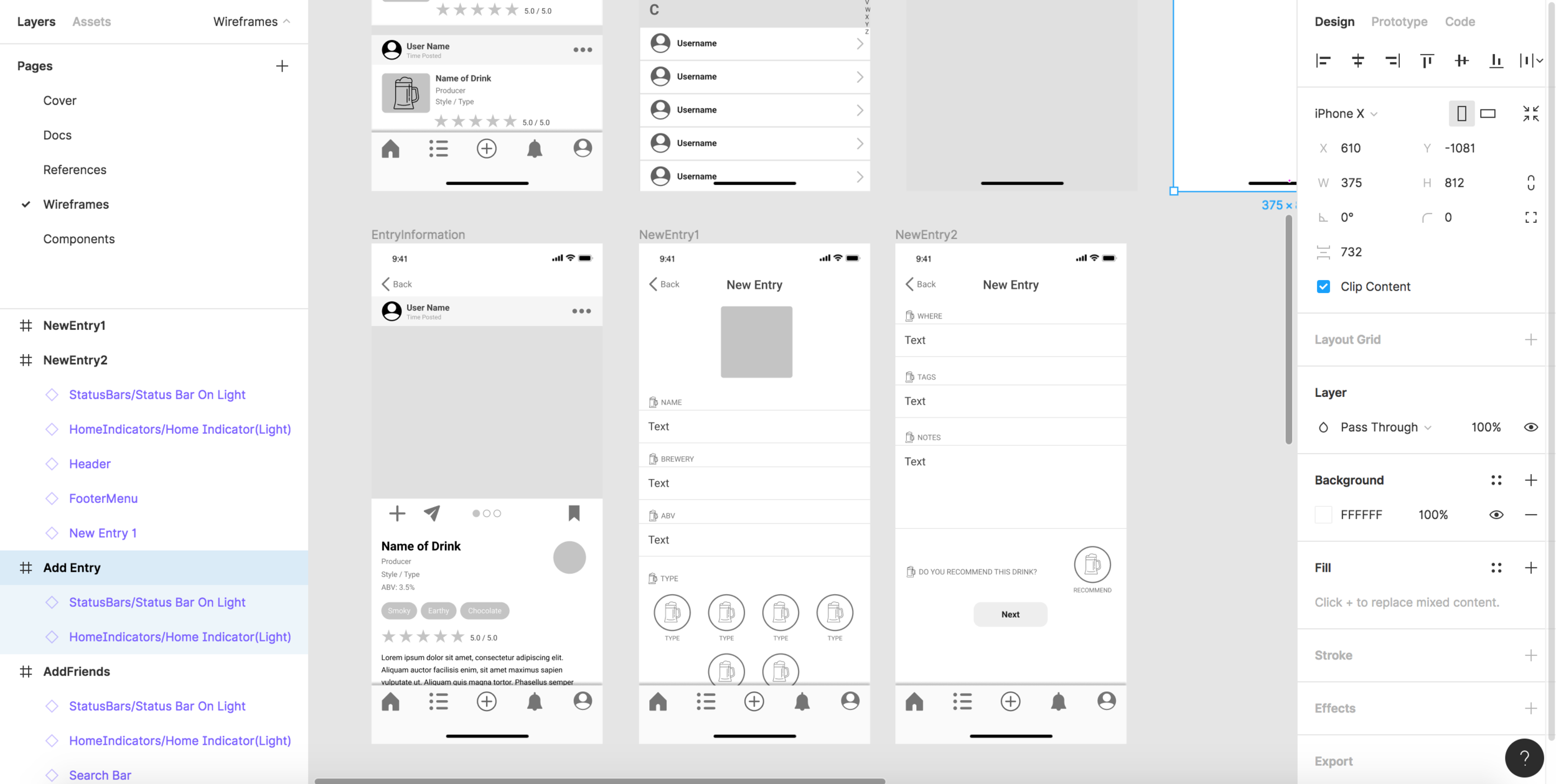 Working in Figma on the wireframes. I naturally want to call this grey-boxing, but I know that's a game dev term that doesn't always apply.
