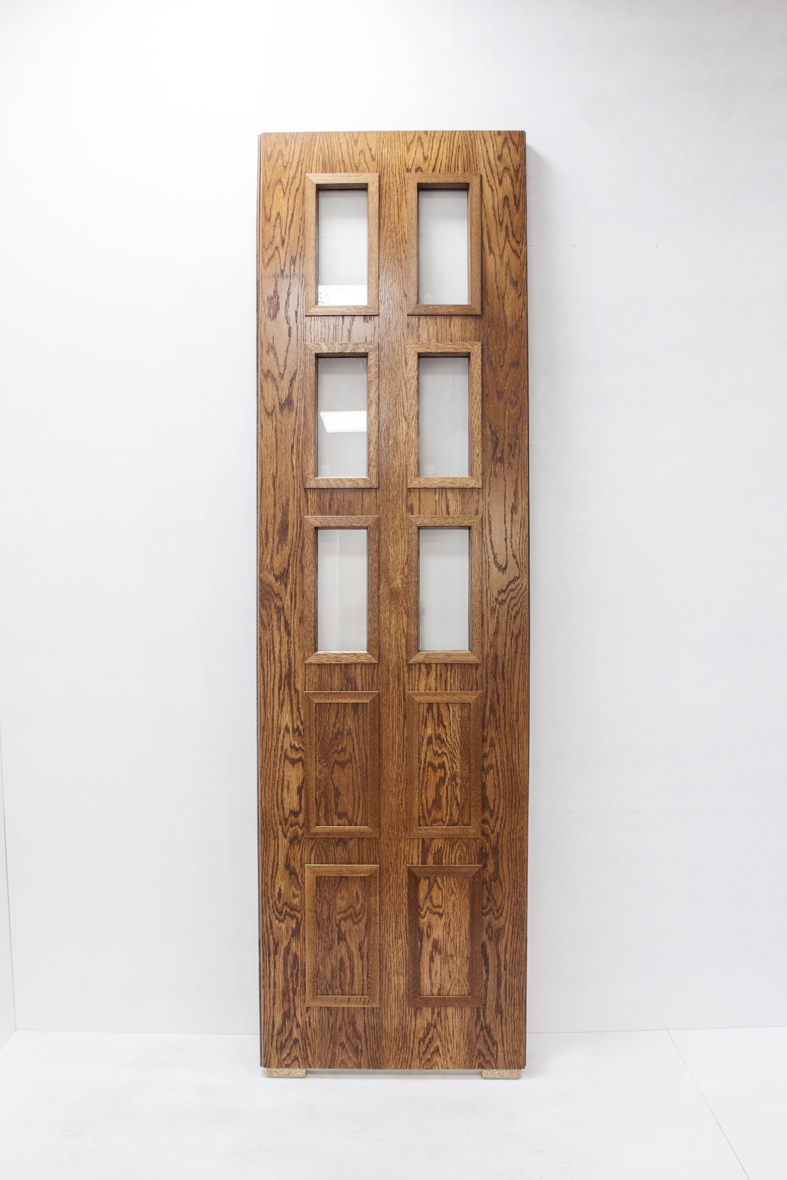 American White Oak stained fire door with vision panels