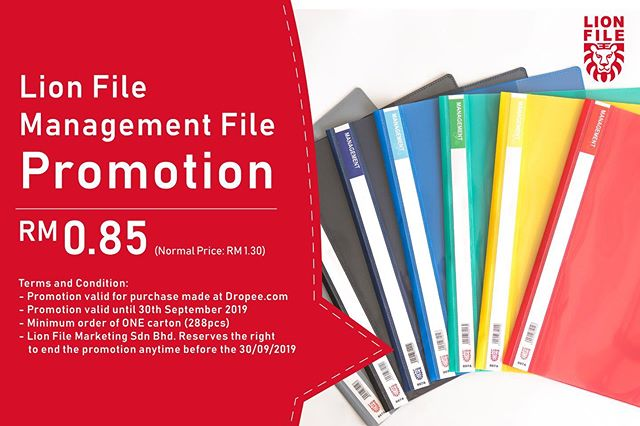 Offering one of Malaysia's well-known file brands, Lion File Marketing is back with a new promo for their range of management files on Dropee.com! . Now, you can get supplies of Lion File Management File for only RM0.85 per item. Save more from the normal price of RM1.30 per item. Guaranteed the best deal in town! . Promotion lasts until 30 September 2019. .  Wait no more! Check out their store promotion here - http://bit.ly/2Ku25By .  #supplierpromotion #Dropee #B2BeCommerceMarketplace #LionFileMarketing #managementfile #buyinbulk #wholesale