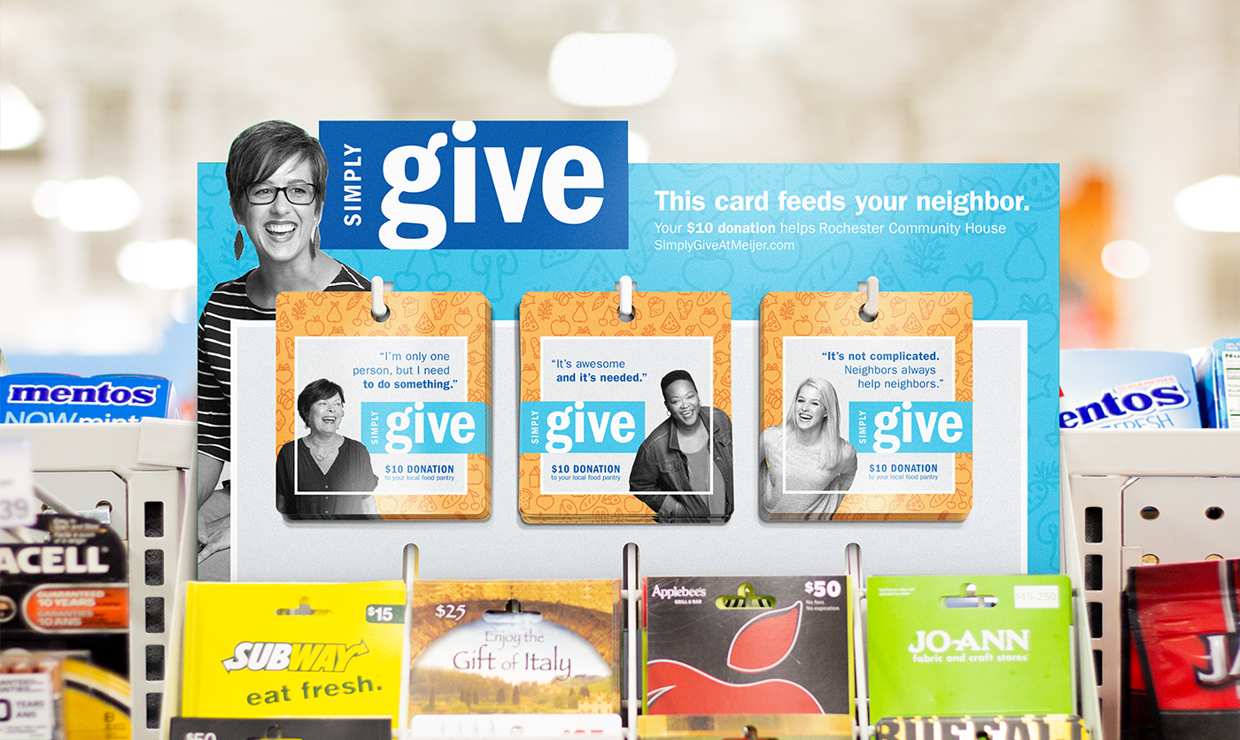 Gift Card Display.  Occupies a space above the gift cards, which are a popular last-minute buying decision.