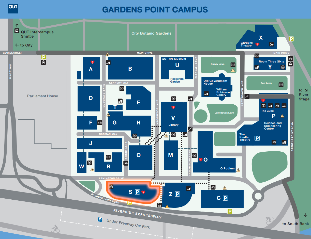 The Owen J Wordsworth (OJW) room is on  level 12 of S Block , QUT Gardens Point Campus.