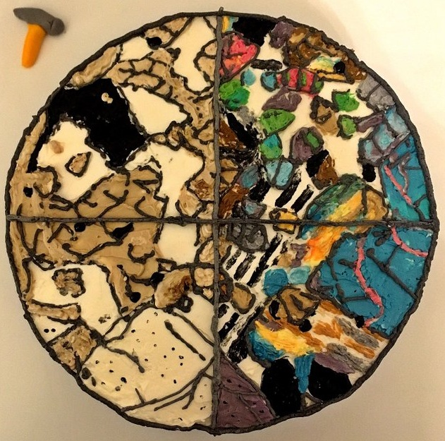 Minerals in thin section on cake by Deirdre Walsh  @deirdreannwalsh  on Twitter  #geobakeoff