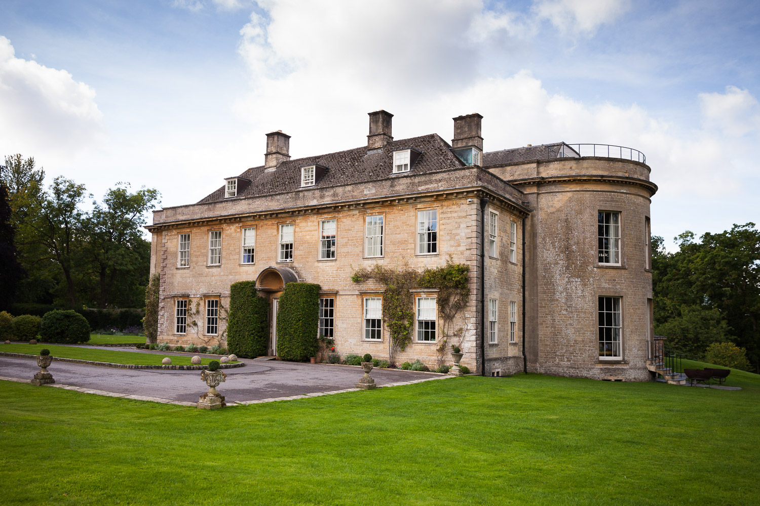 The outside of babington house decorated for a wedding