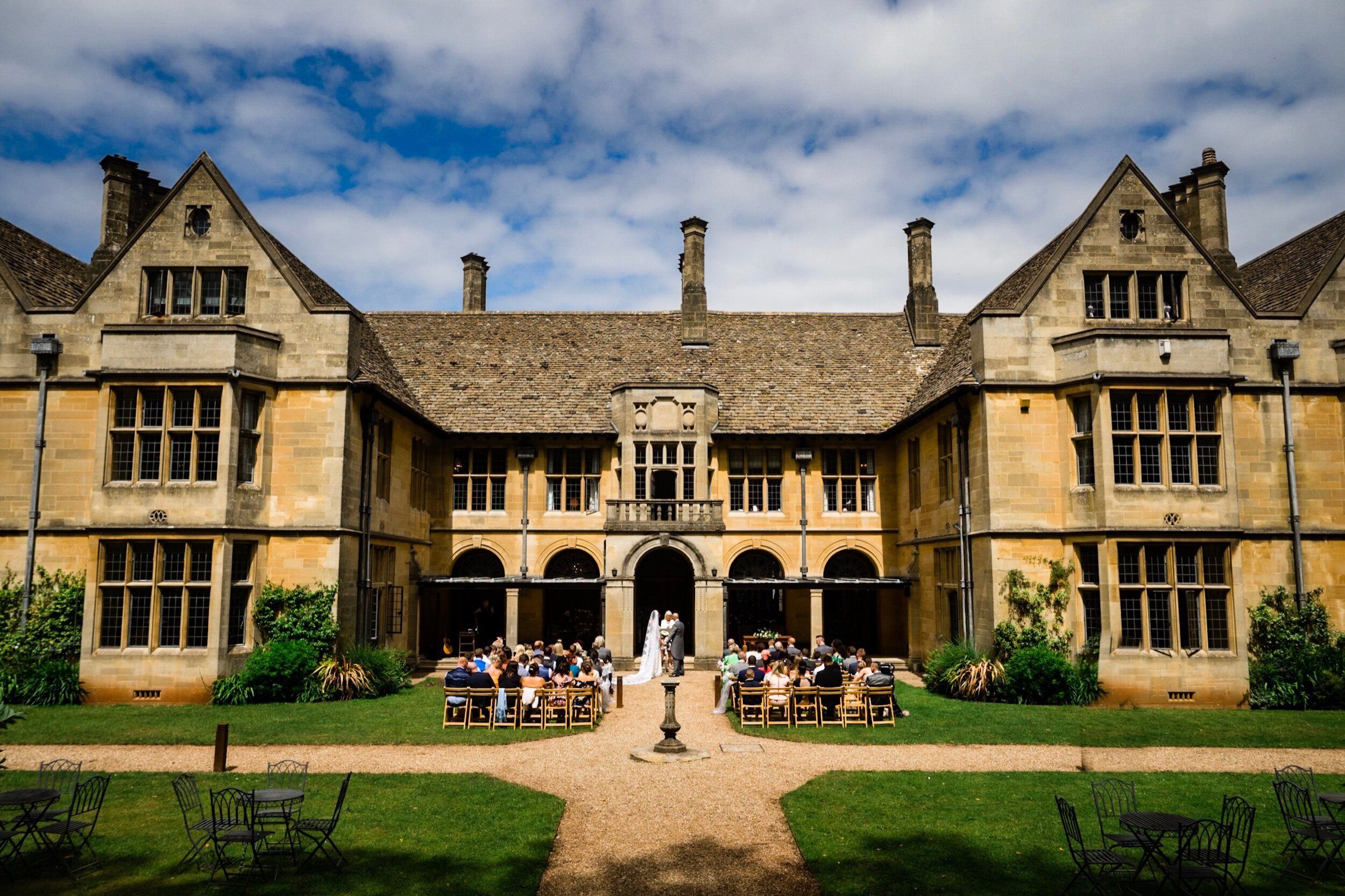An outdoor wedding taking place at one of the best wedding venues in Bristol