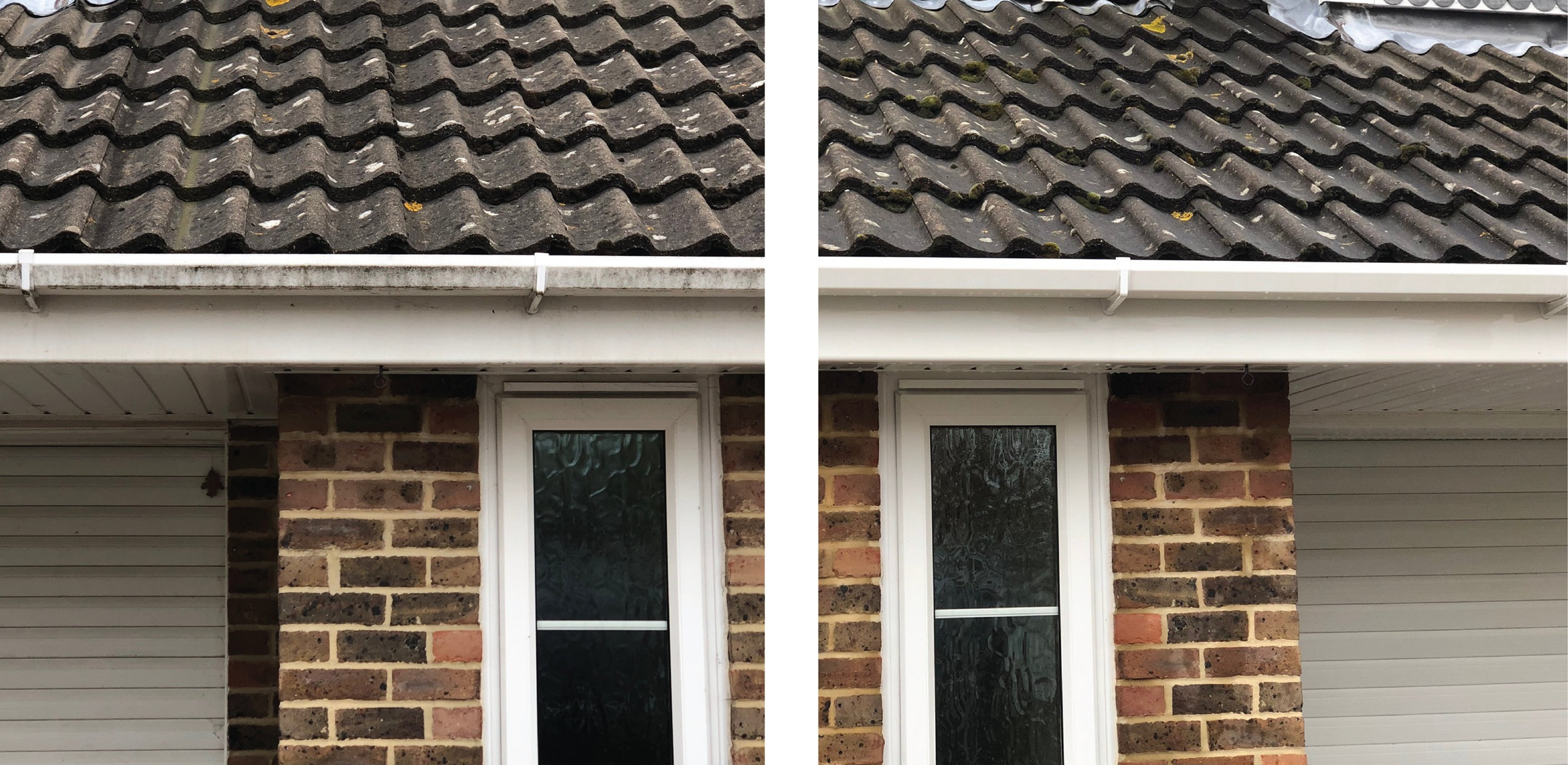 fascia, Soffit & gutter cleaning - We clean your fascias and gutters from the safety of the ground with our specialist equipment and high reach cleaning pole.
