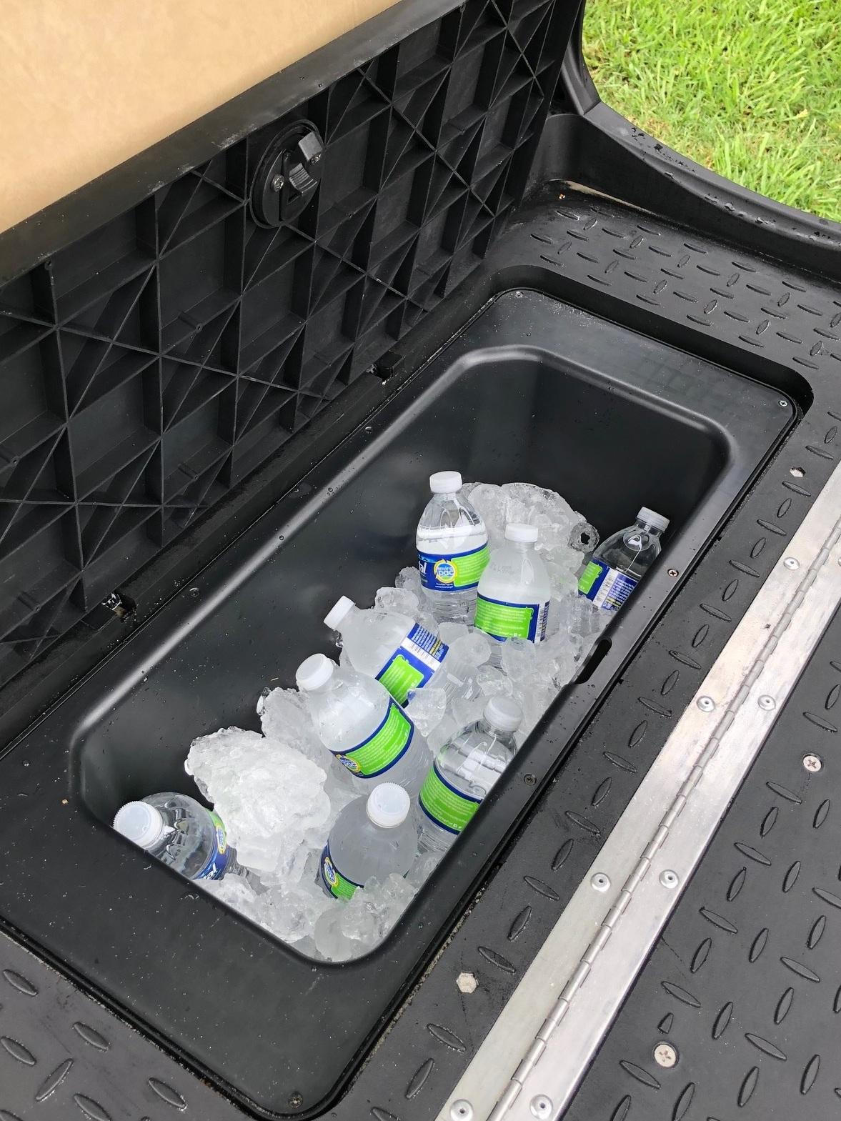 Cooler/ storage bin under rear seat