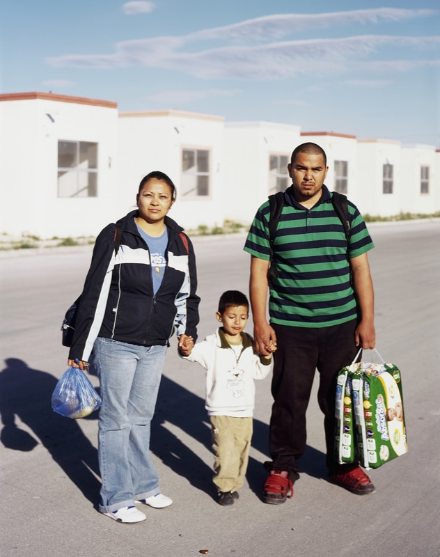 Family Walking Home to Suburb in Juarez, 2009
