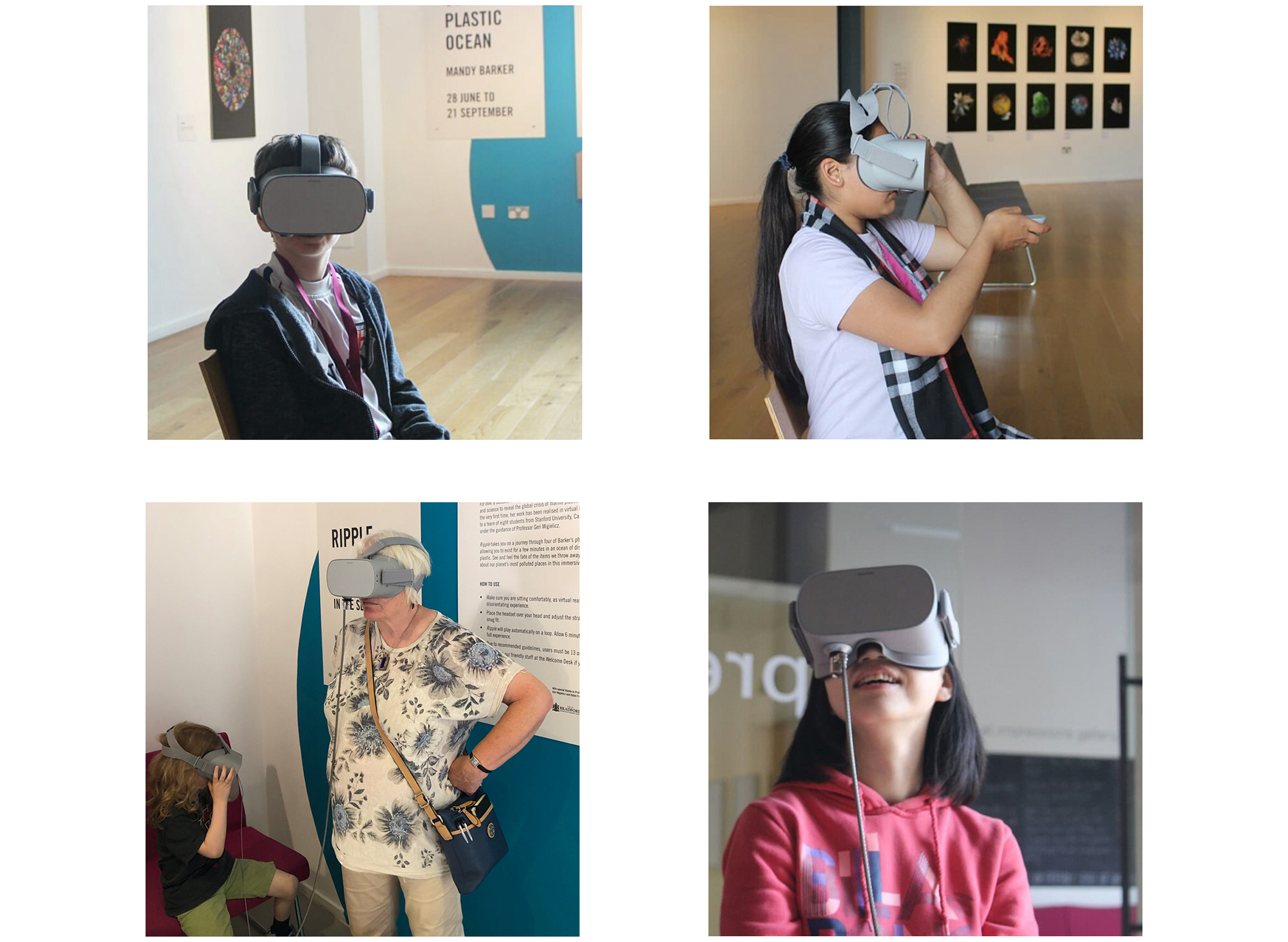 The virtual reality experience was first experienced as part of the exhibition, OUR PLASTIC OCEAN, at Impressions Gallery, England from 28 June – 21 September 2019 .