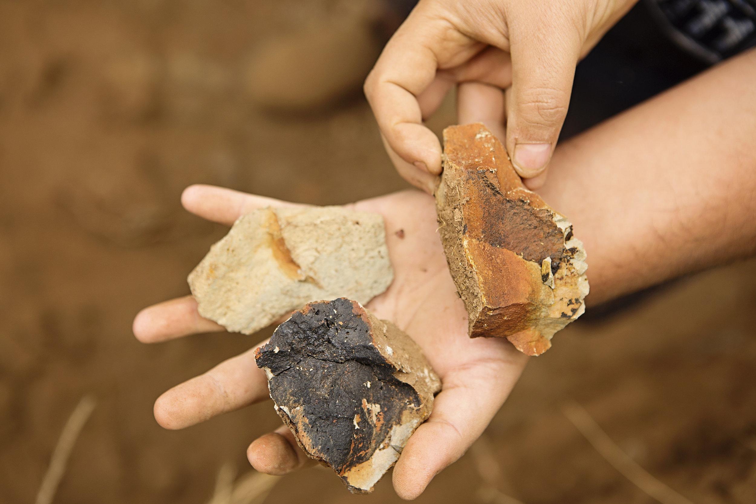 Three kinds of volcanic soil (black, oxidized basalt, ash)