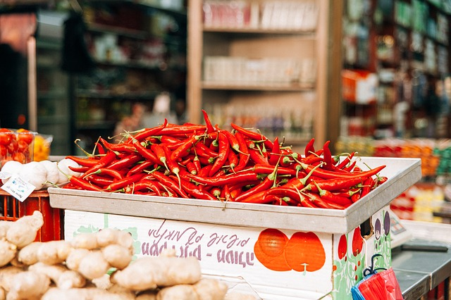 Chillies on a market in Bali. They made the MOST DELICIOUS Babi Guling!
