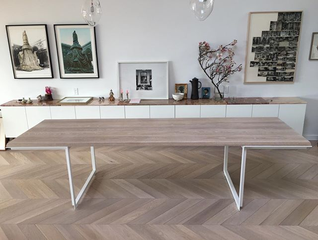 """Custom Bevel Edge table In white washed white oak. 9.5ft long x34"""" wide. Perfect space, perfect clients. 95% of Made's work is custom design. Make an appointment to discuss your project."""