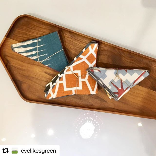 Thanks for the great in shop pic by @evelikesgreen  #Repost @evelikesgreen ・・・ Having a total crush on these walnut boards by @onourtable_ ....i think this one is my favourite! Aptly named Template it will fit so neatly into any table or serving display! ....happens to look awesome with our #cocktail napkins too 😊 @madedesign . . #upcycled #couture #textiles #oneofakind #tablesetting #napkin #linen #wood #walnut #servingtray #long #handmade #locallymade #shoplocal #favourite #crush #template #made #torontomade #eisforearth #the6ix #toronto