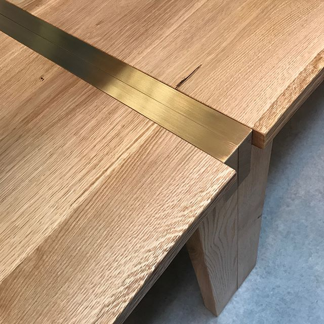 Pair of custom white oak office tables with brass detailing. On their way to @wework Vancouver Monday. Did you know we do full custom? Fabrication by @agostinisdesigns