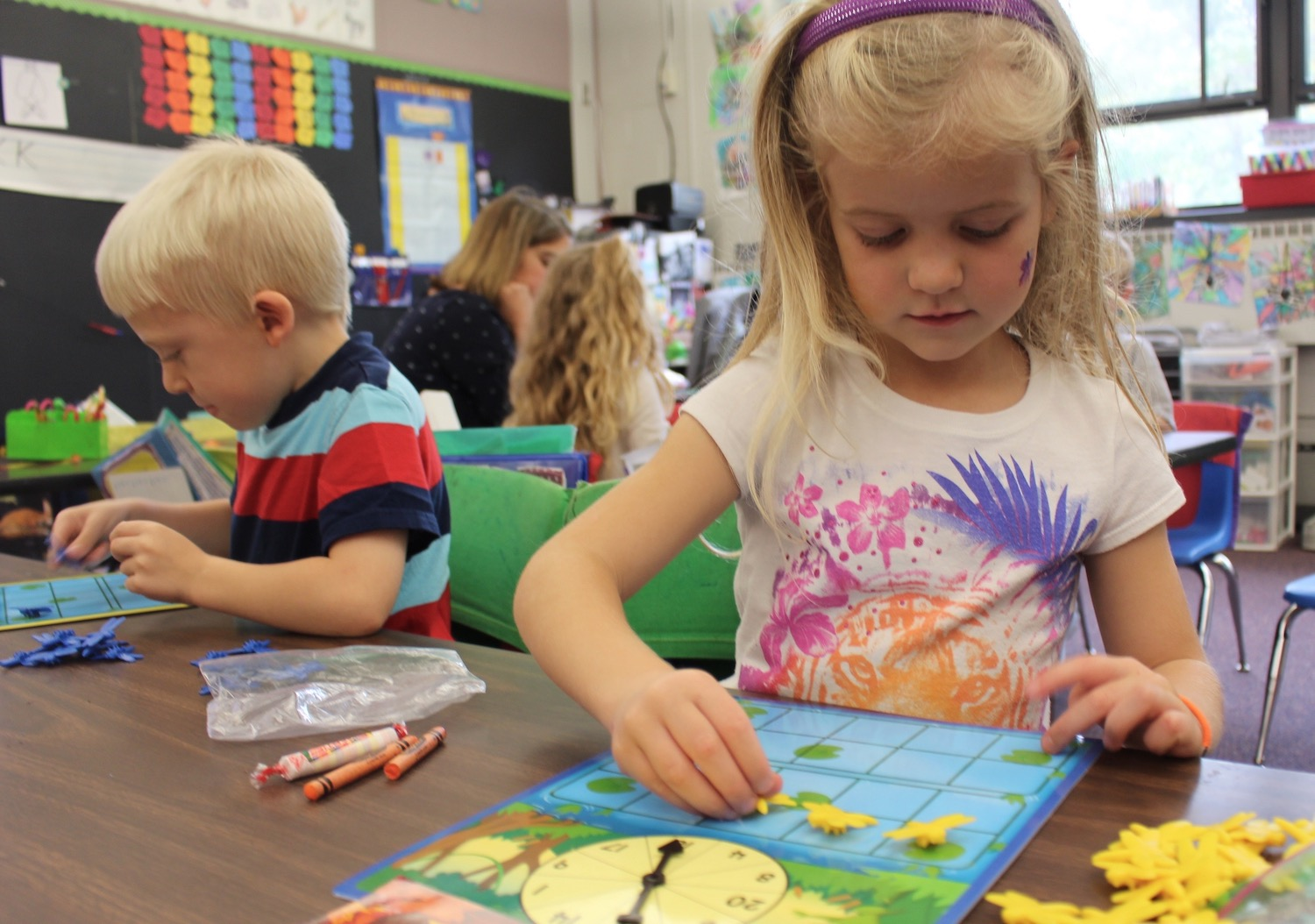 Young children with telling time work