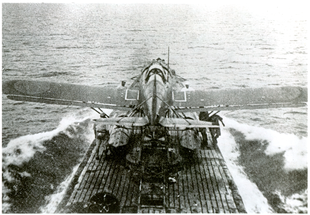 Collapsible seaplane on deck of submarine, ready for take off